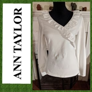 Ann Taylor ruffled crossover top